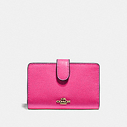MEDIUM CORNER ZIP WALLET - PINK RUBY/GOLD - COACH F11484