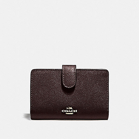 COACH MEDIUM CORNER ZIP WALLET IN CROSSGRAIN LEATHER - LIGHT GOLD/OXBLOOD 1 - f11484
