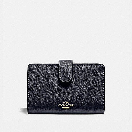 COACH MEDIUM CORNER ZIP WALLET IN CROSSGRAIN LEATHER - LIGHT GOLD/MIDNIGHT - f11484