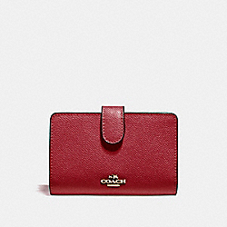 COACH MEDIUM CORNER ZIP WALLET - LIGHT GOLD/DARK RED - F11484