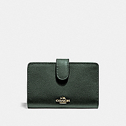 MEDIUM CORNER ZIP WALLET - IVY/IMITATION GOLD - COACH F11484