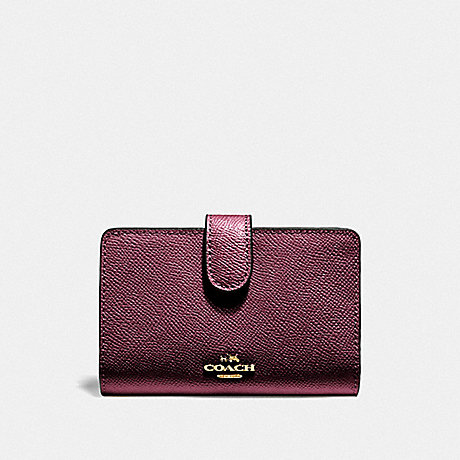 COACH MEDIUM CORNER ZIP WALLET - IM/METALLIC WINE - F11484