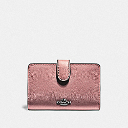 MEDIUM CORNER ZIP WALLET - QB/METALLIC DARK BLUSH - COACH F11484
