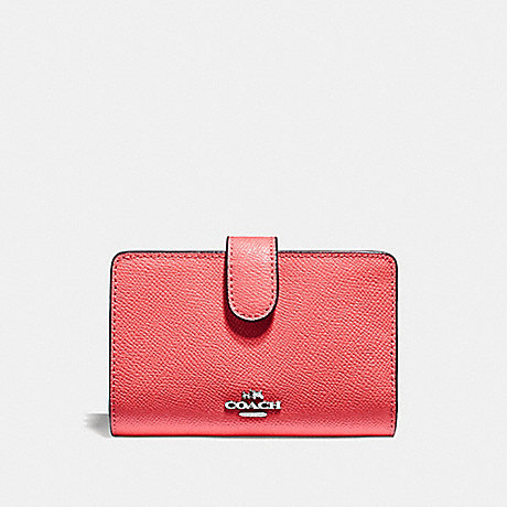 COACH MEDIUM CORNER ZIP WALLET - CORAL/SILVER - F11484