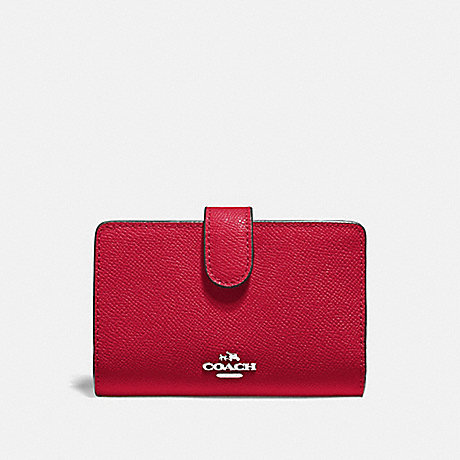 COACH MEDIUM CORNER ZIP WALLET - BRIGHT CARDINAL/SILVER - F11484