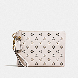 TURNLOCK WRISTLET 30 WITH WHIPSTITCH EYELET AND SNAKESKIN DETAIL - OL/CHALK - COACH F11703