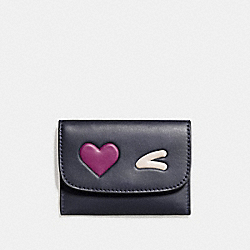 HEART CARD POUCH IN GLOVETANNED LEATHER - f11720 - SILVER/MIDNIGHT MULTI