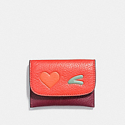 HEART CARD POUCH IN GLOVETANNED LEATHER - f11720 - SILVER/MULTICOLOR 1