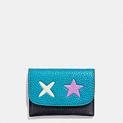 STAR CARD POUCH IN SMOOTH LEATHER - f11721 - SILVER/MULTICOLOR 1