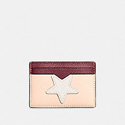 FLAT CARD CASE IN CROSSGRAIN LEATHER WITH STAR - f11723 - SILVER/CHALK MULTI