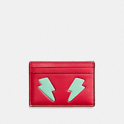 FLAT CARD CASE IN REFINED CALF LEATHER WITH LIGHTNING BOLT - SILVER/TRUE RED MULTI - COACH F11725
