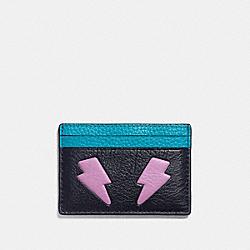 FLAT CARD CASE IN REFINED CALF LEATHER WITH LIGHTNING BOLT - f11725 - SILVER/MULTICOLOR 1