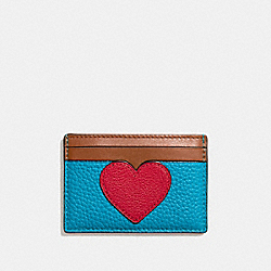 COACH FLAT CARD CASE IN PEBBLE LEATHER WITH HEART - SILVER/TRUE RED MULTI - F11726