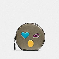 HEART ROUND COIN CASE IN GLOVETANNED LEATHER - SILVER/OLIVE MULTI - COACH F11727