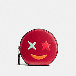 COIN CASE IN REFINED CALF LEATHER WITH STAR - f11730 - SILVER/TRUE RED