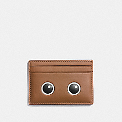 EYES FLAT CARD CASE IN GLOVETANNED LEATHER - f11731 - SILVER/MULTICOLOR 1