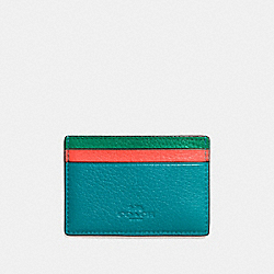 FLAT CARD CASE IN GRAIN LEATHER WITH RAINBOW - f11739 - SILVER/BLUE MULTI