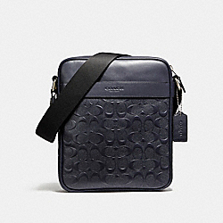 CHARLES FLIGHT BAG IN SIGNATURE CROSSGRAIN LEATHER - NICKEL/MIDNIGHT - COACH F11741