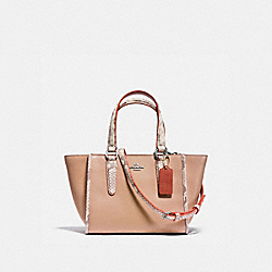 COACH CROSBY CARRYALL 21 IN NATURAL REFINED LEATHER WITH PYTHON EMBOSSED LEATHER TRIM - SILVER/NUDE PINK MULTI - F11750