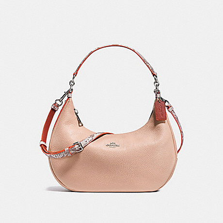 COACH EAST/WEST HARLEY HOBO IN POLISHED PEBBLE LEATHER WITH PYTHON EMBOSSED LEATHER TRIM - SILVER/NUDE PINK MULTI - f11752