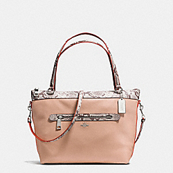 TYLER TOTE IN POLISHED PEBBLE LEATHER WITH PYTHON-EMBOSSED LEATHER TRIM - f11759 - SILVER/NUDE PINK MULTI