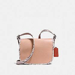PATRICIA SADDLE 23 IN NATURAL REFINED LEATHER WITH PYTHON-EMBOSSED LEATHER TRIM - SILVER/NUDE PINK MULTI - COACH F11760