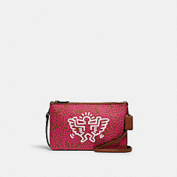 KEITH HARING LYLA CROSSBODY WITH GRAPHIC PRINT - QB/BRIGHT FUCHSIA SADDLE - COACH F11773