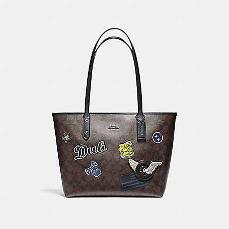 COACH f11800 CITY ZIP TOTE IN SIGNATURE COATED CANVAS WITH VARSITY PATCHES BLACK ANTIQUE NICKEL/BROWN
