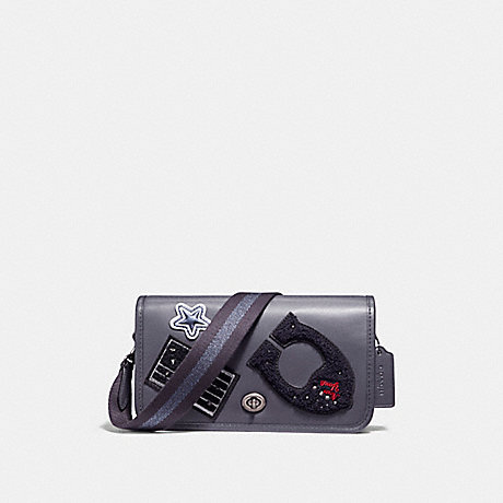 COACH f11802 PENNY CROSSBODY IN REFINED CALF LEATHER WITH VARSITY PATCHES AND WEBBED STRAP ANTIQUE NICKEL/MIDNIGHT