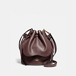 PETAL BAG 22 IN PEBBLE LEATHER - F11807 - LIGHT GOLD/OXBLOOD 1