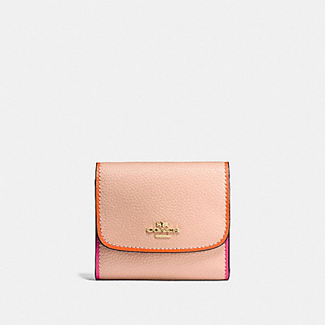 COACH SMALL WALLET IN POLISHED PEBBLE LEATHER WITH MULTI EDGEPAINT - IMITATION GOLD/NUDE PINK MULTI - f11824