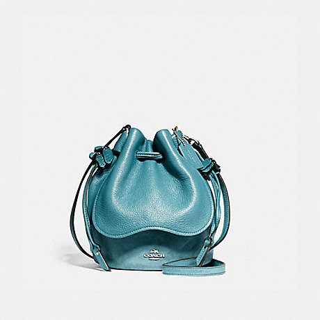 COACH f11829 PETAL BAG IN PEBBLE LEATHER AND SUEDE SILVER/DARK TEAL