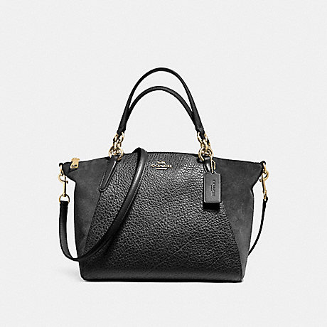 COACH SMALL KELSEY SATCHEL IN MIXED MATERIALS - LIGHT GOLD/BLACK - f11832