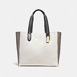 COACH LARGE DERBY TOTE IN COLORBLOCK - CHALK MULTI/LIGHT GOLD - F11833