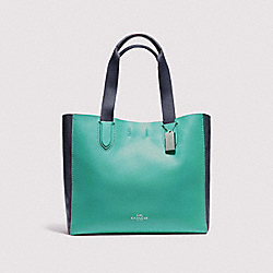 COACH LARGE DERBY TOTE IN COLORBLOCK - SILVER/BLUE GREEN MULTI - F11833