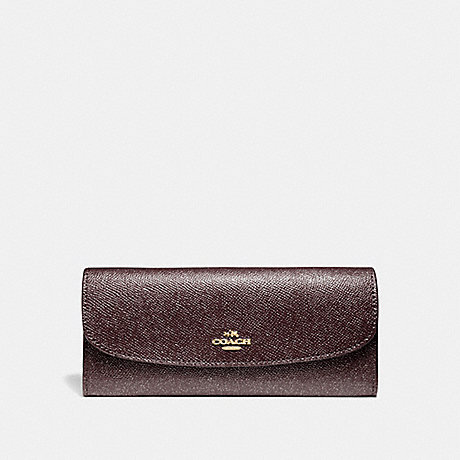 COACH SOFT WALLET IN GLITTER CROSSGRAIN LEATHER - LIGHT GOLD/OXBLOOD 1 - f11835