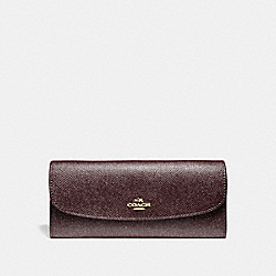 SOFT WALLET IN GLITTER CROSSGRAIN LEATHER - f11835 - LIGHT GOLD/OXBLOOD 1