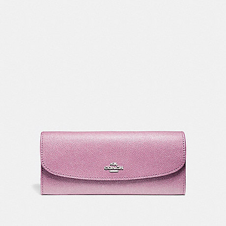 COACH SOFT WALLET IN GLITTER CROSSGRAIN LEATHER - SILVER/LILAC - f11835
