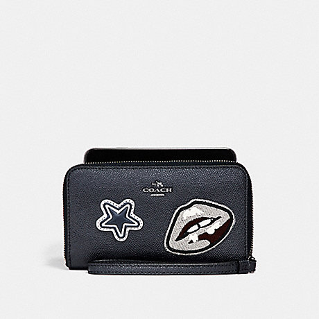 COACH PHONE WALLET IN CROSSGRAIN LEATHER WITH VARSITY PATCHES - ANTIQUE NICKEL/MIDNIGHT - f11853