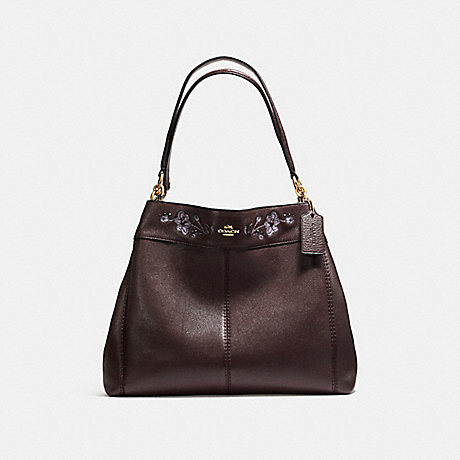 COACH f11873 LEXY SHOULDER BAG IN PEBBLE LEATHER WITH FLORAL EMBROIDERY LIGHT GOLD/OXBLOOD 1