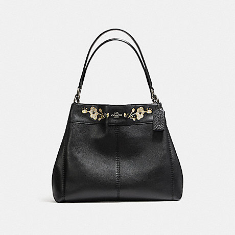 COACH f11873 LEXY SHOULDER BAG IN PEBBLE LEATHER WITH FLORAL EMBROIDERY ANTIQUE NICKEL/BLACK