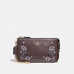 LARGE WRISTLET 19 IN NATURAL REFINED LEATHER WITH FLORAL EMBROIDERY - f11882 - LIGHT GOLD/OXBLOOD 1