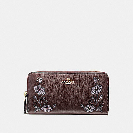 COACH ACCORDION ZIP WALLET IN REFINED NATURAL PEBBLE LEATHER WITH FLORAL EMBROIDERY - LIGHT GOLD/OXBLOOD 1 - f11885
