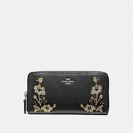 COACH ACCORDION ZIP WALLET IN REFINED NATURAL PEBBLE LEATHER WITH FLORAL EMBROIDERY - ANTIQUE NICKEL/BLACK - f11885