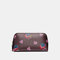 COSMETIC CASE 17 IN WILDFLOWER PRINT COATED CANVAS - f11893 - LIGHT GOLD/OXBLOOD 1