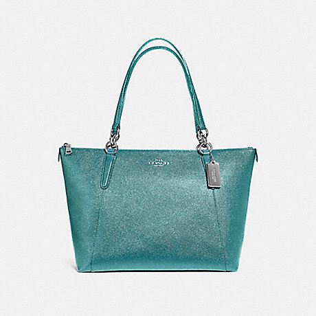 COACH f11900 AVA TOTE IN GLITTER CROSSGRAIN LEATHER SILVER/DARK TEAL
