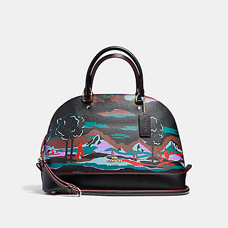 COACH SIERRA SATCHEL IN LANDSCAPE PRINT COATED CANVAS - LIGHT GOLD/BLACK MULTI - f11903