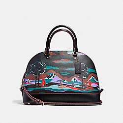 SIERRA SATCHEL IN LANDSCAPE PRINT COATED CANVAS - f11903 - LIGHT GOLD/BLACK MULTI