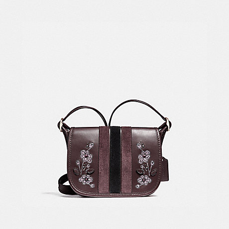 COACH f11911 PATRICIA SADDLE 18 IN VARSITY STRIPE LEATHER WITH FLORAL EMBROIDERY LIGHT GOLD/OXBLOOD 1