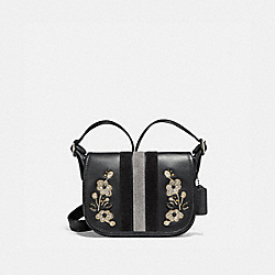 PATRICIA SADDLE 18 IN VARSITY STRIPE LEATHER WITH FLORAL EMBROIDERY - F11911 - ANTIQUE NICKEL/BLACK